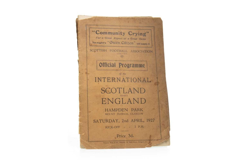 Lot 1918-A SCOTLAND V ENGLAND FOOTBALL PROGRAMME DATED 1927