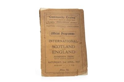 Lot 1918-A SCOTLAND V ENGLAND FOOTBALL PROGRAMME DATED 1927