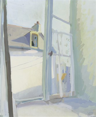 Lot 620-THROUGH AN OPEN WINDOW, A GOUACHE BY ALEXANDER GOUDIE