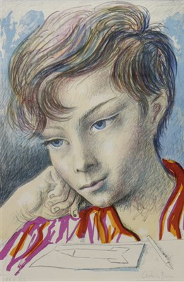 Lot 625-PORTRAIT OF A YOUNG BOY, A COLOUR LITHOGRAPH BY ANTONIO BERNI