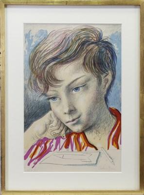 Lot 625-PORTRAIT OF A YOUNG BOY, A COLOUR LITHOGRAPH BY ANTONIO BERNI