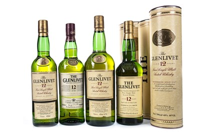 Lot 341-ONE LITRE AND THREE BOTTLES OF GLENLIVET AGED 12 YEARS
