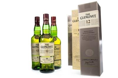 Lot 342-THREE BOTTLES OF GLENLIVET 12 YEARS OLD
