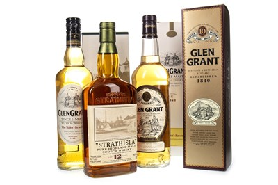 Lot 352-GLEN GRANT AGED 10 YEARS, MAJORS RESERVE AND STRATHISLA AGED 12 YEARS