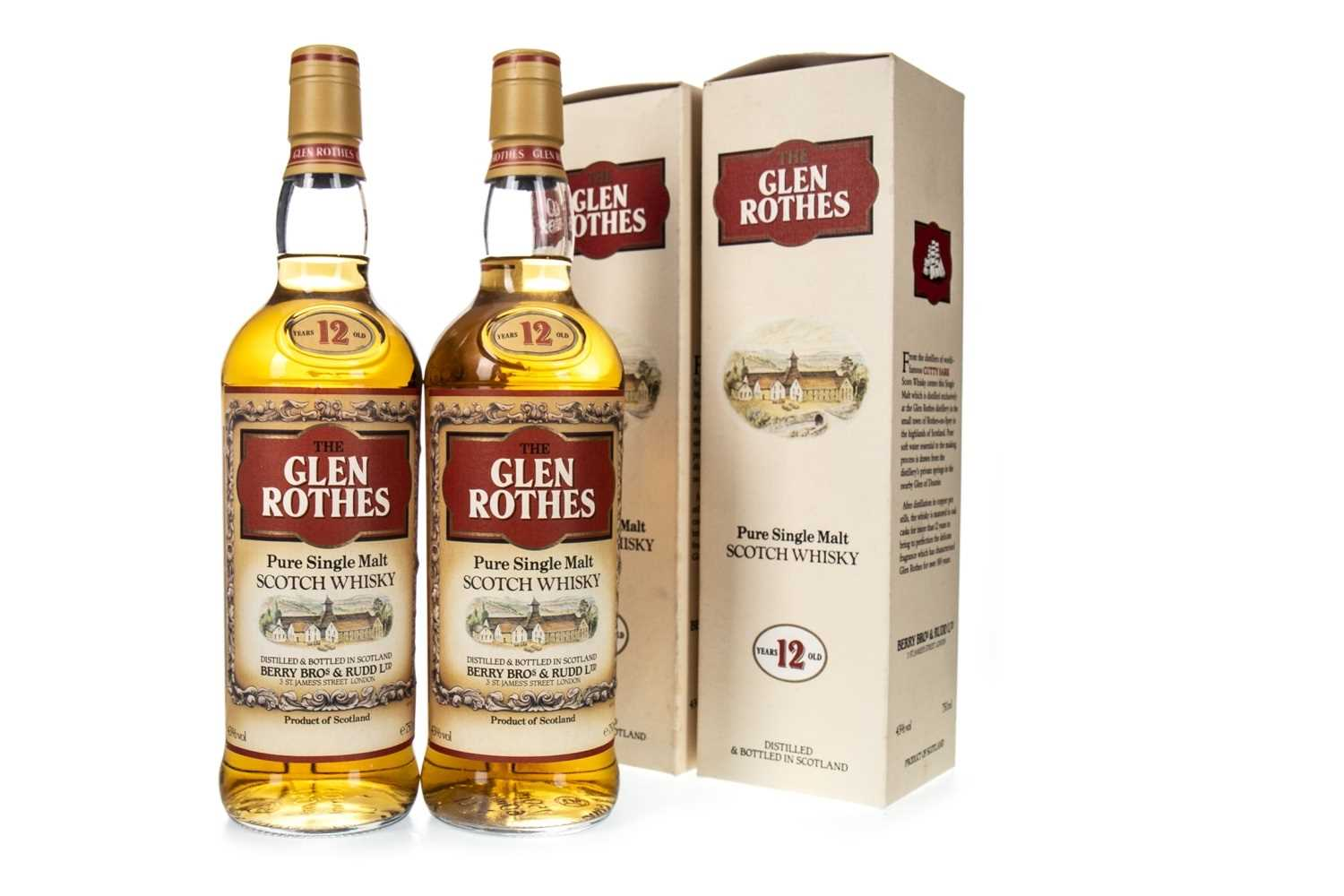 Lot 3-TWO BOTTLES OF GLENROTHES 12 YEARS OLD