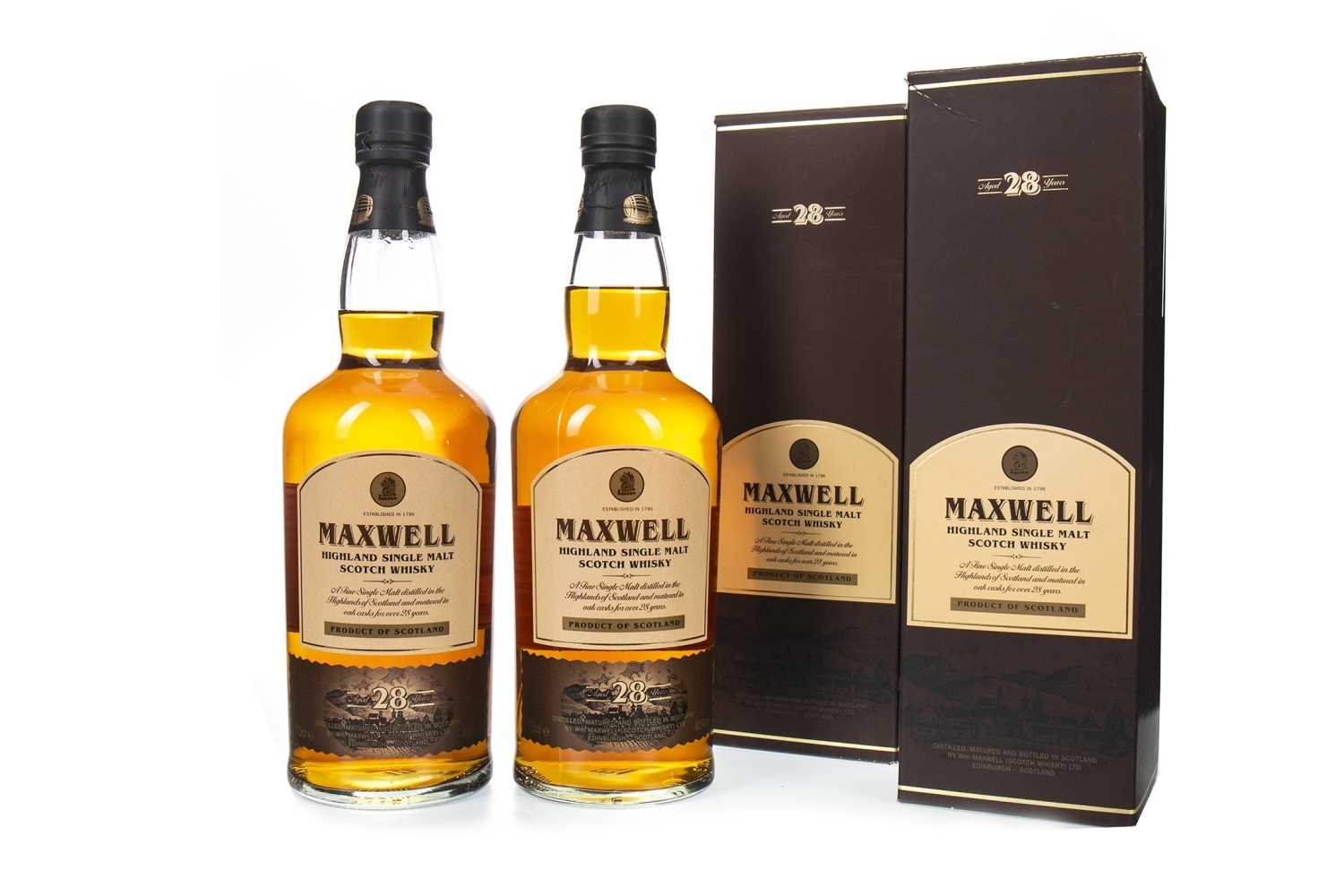 Lot 6-TWO BOTTLES OF MAXWELL 1982 AGED 28 YEARS