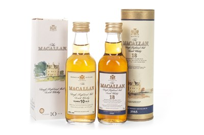 Lot 27-MACALLAN 1985 18 YEARS OLD AND 10 YEARS OLD MINIATURES