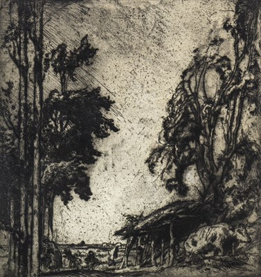 Lot 419-RURAL SCENE, AN ETCHING BY FRANK BRANGWYN