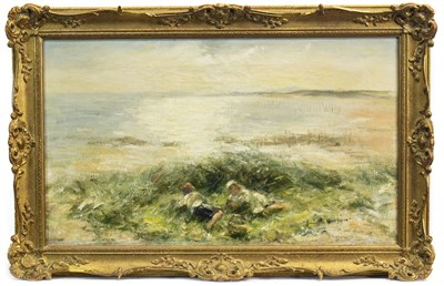 Lot 423-ON THE BENTS CARNOUSTIE, AN OIL BY ROBERT GEMMELL HUTCHISON