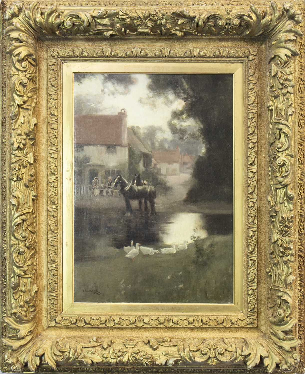 Lot 425-RURAL SCENE WITH HORSE AND DUCKS, AN OIL BY JOHN LOCHHEAD