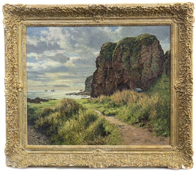Lot 426-THE PATH TO THE HARBOUR, AUCHMITHIE, AN OIL BY JAMES MCINTOSH PATRICK