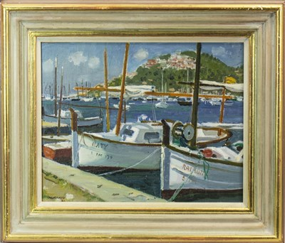 Lot 516-HARBOUR AT PORT D'ANDRATX, MAJORCA, AN OIL BY ALBERTO MORROCCO