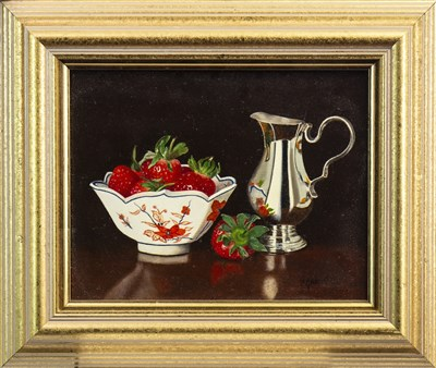 Lot 517-SILVER AND STRAWBERRIES, AN OIL BY HILARY GAUCI