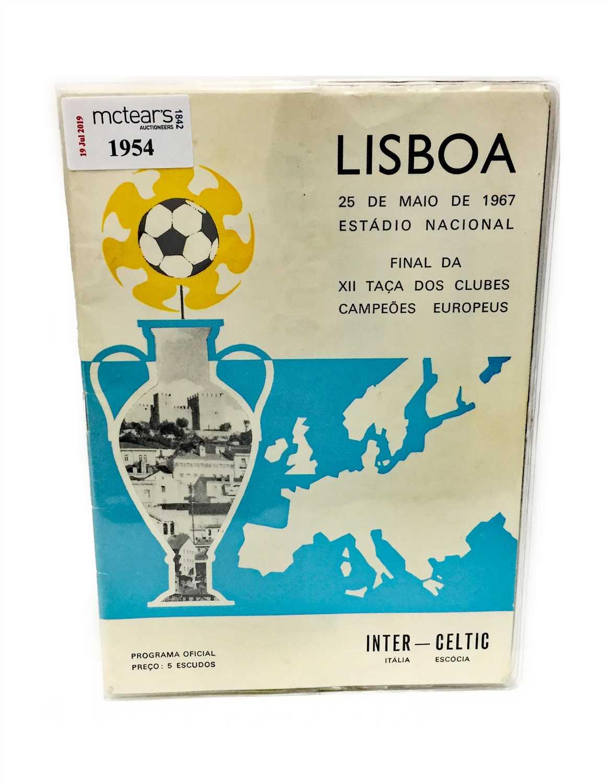 Lot 1954 - A CELTIC V INTER MILAN EUROPEAN CUP FINAL PROGRAMME 1967