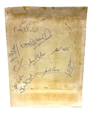 Lot 1966-A CELTIC F.C. AUTOGRAPH SHEET