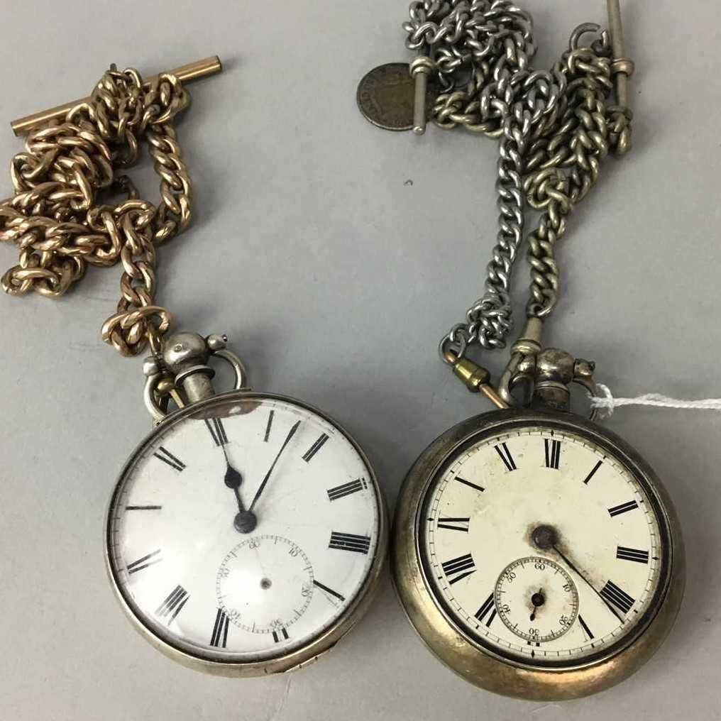 Lot 1-A LOT OF TWO SILVER CASED POCKET WATCHES