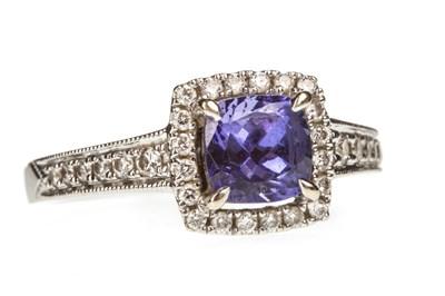 Lot 8-A TANZANITE AND DIAMOND RING