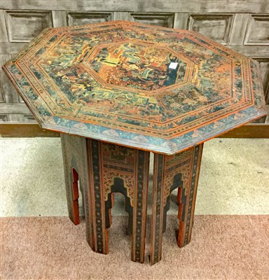 Lot 1063-A BURMESE PAINTED LACQUERED OCTAGONAL TABLE