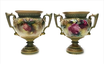 Lot 1242-A PAIR OF ROYAL WORCESTER VASES