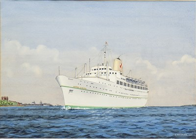 Lot 469-THE EMPRESS OF BRITAIN OFFSHORE, A WATERCOLOUR BY JOHN NICHOLSON