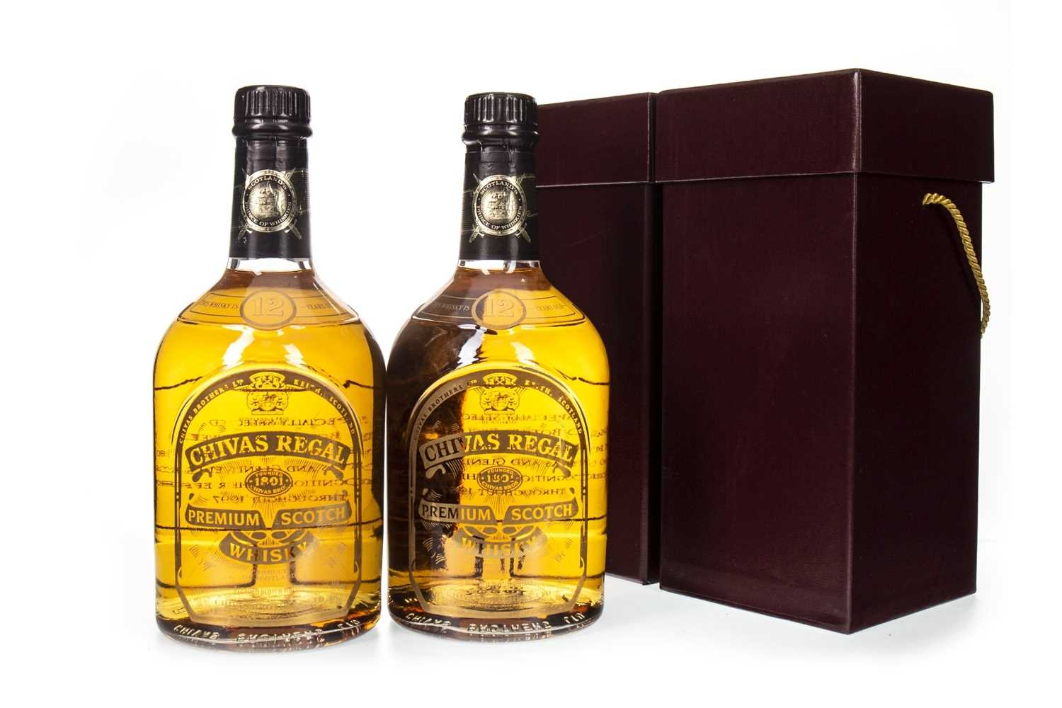 Lot 416-TWO BOTTLES OF CHIVAS REGAL 12 YEARS OLD SCREEN PRINT