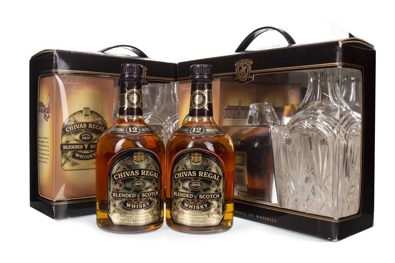 Lot 419-TWO BOTTLES OF CHIVAS REGAL AGED 12 YEARS WITH CRYSTAL DECANTERS