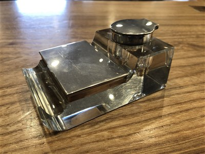 Lot 9-AN EDWARDIAN SILVER MOUNTED INKSTAND
