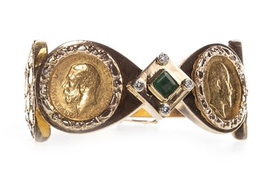 Lot 537-TWO GOLD HALF SOVEREIGNS MOUNTED TO A BANGLE