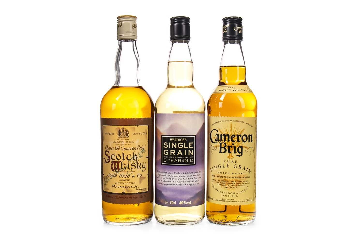 Lot 423-CHOICE OLD CAMERON BRIG, CAMERON BRIG AND WAITROSE SINGLE GRAIN 8 YEARS OLD