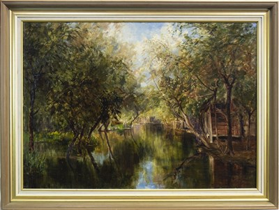 Lot 472-AT THE DAL LAKE, KASHMIR, AN OIL BY ADA MARY BARCLAY