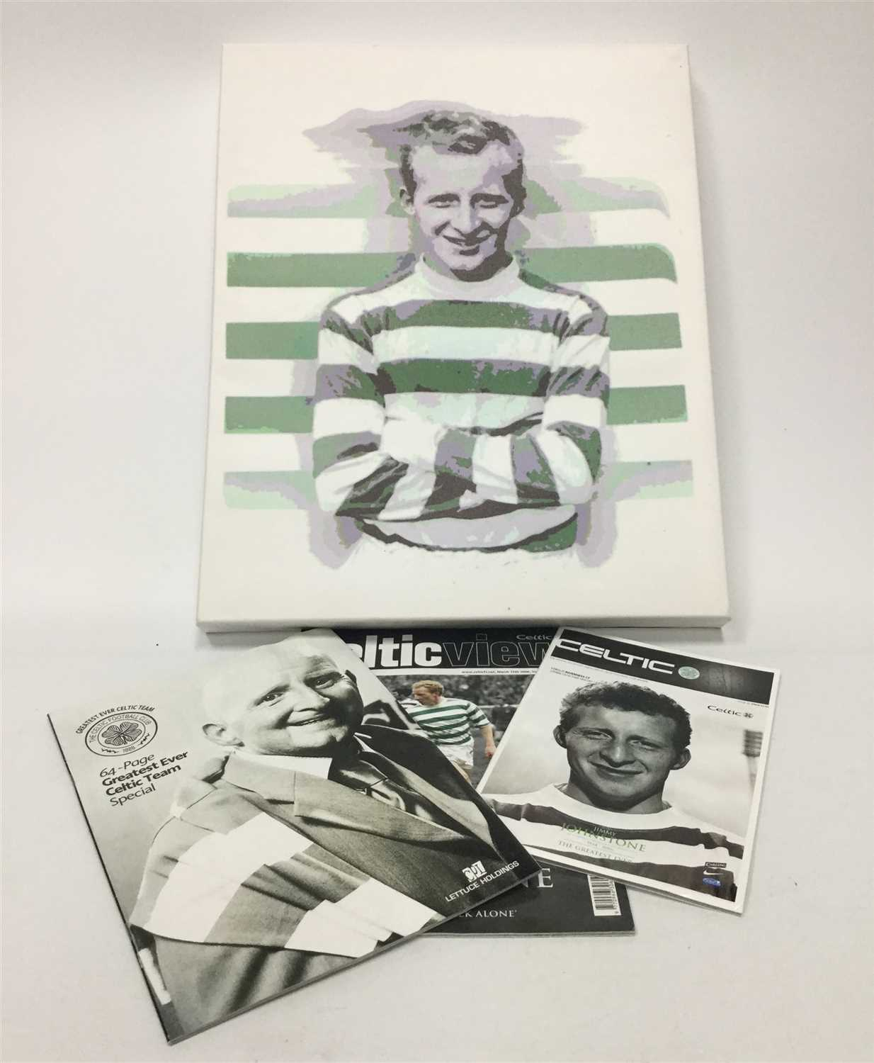 Lot 1930-A SCREENPRINT OF JIMMY JOHNSTONE AND OTHER ITEMS RELATED TO JOHNSTONE