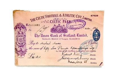 Lot 1830-A LOT OF FOUR CELTIC FOOTBALL & ATHLETIC COY. LIMITED CHEQUES