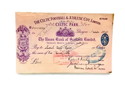 Lot 1990-A CELTIC FOOTBALL & ATHLETIC COY. LIMITED CHEQUE