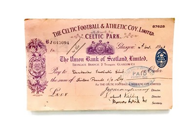 Lot 52-A LOT OF FOUR CELTIC FOOTBALL & ATHLETIC COY. LIMITED CHEQUES