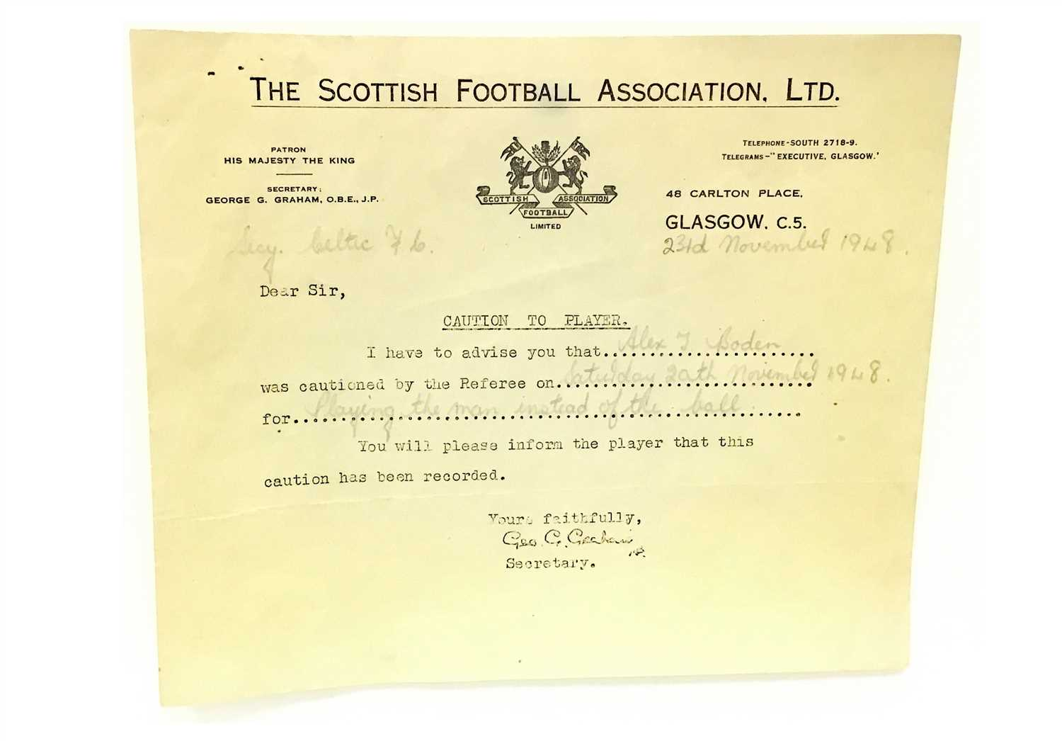 Lot 1826-A LOT OF THREE SCOTTISH FOOTBALL ASSOCIATION LTD. CAUTIONS AND A LETTER
