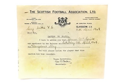 Lot 50-A LOT OF THREE SCOTTISH FOOTBALL ASSOCIATION LTD. CAUTIONS ISSUED TO JAMES MCQUIRE