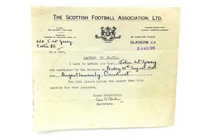 Lot 51-A SCOTTISH FOOTBALL ASSOCIATION LTD. CAUTION AND FIVE LETTERS