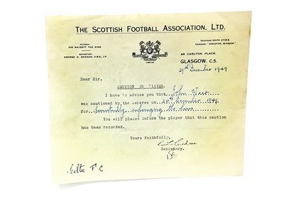 Lot 1829-A COLLECTION OF SCOTTISH FOOTBALL ASSOCIATION LTD CAUTIONS AND LETTERS