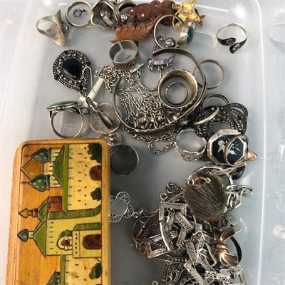 Lot 1-A LOT OF COSTUME AND SILVER JEWELLERY