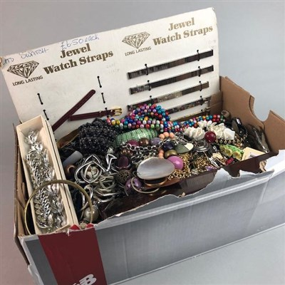 Lot 3-A LOT OF COSTUME JEWELLERY ALONG WITH WATCHSTRAPS