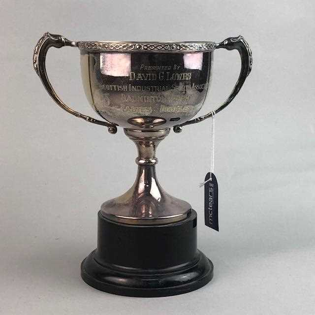 Lot 18-THE SCOTTISH INDUSTRIAL SPORTS ASSOCIATION TROPHY, DRINKING GLASSES AND AN ASHTRAY