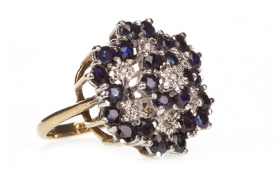 Lot 4-A BLUE GEM AND DIAMOND CLUSTER RING