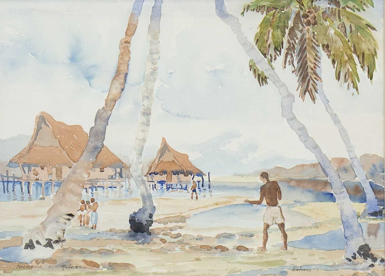 Lot 466-VILLAGE SCENE ON THE NEW GUINEA ISLAND OF NOEMFOOR, A WATERCOLOUR BY DIANA ESMOND