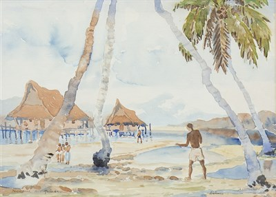 Lot 466-VILLAGE SCENE ON THE NEW GUINEA ISLAND OF NOEMFOOR, A WATERCOLOUR BY DIANA ESMOND