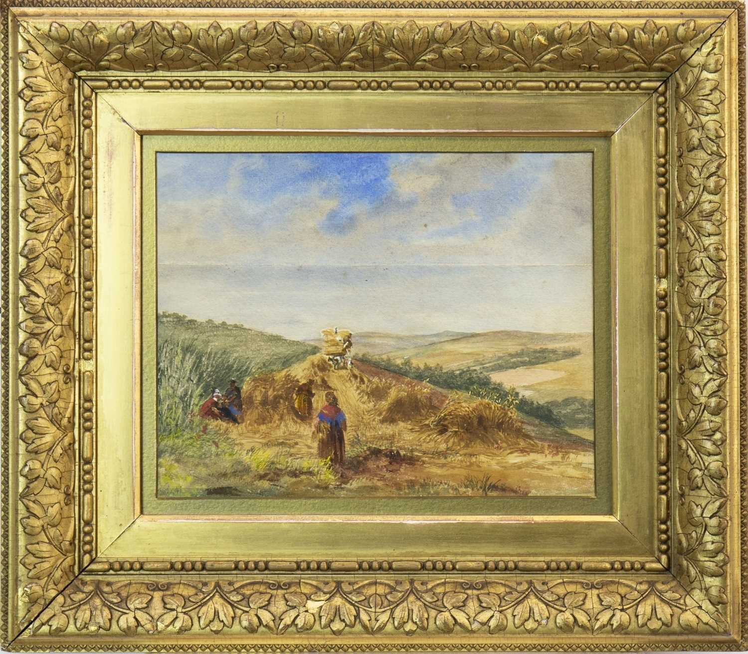 Lot 422-A RARE WATERCOLOUR SKETCH OF AN EAST LOTHIAN HARVESTING SCENE, BY WILLIAM DARLING MACKAY