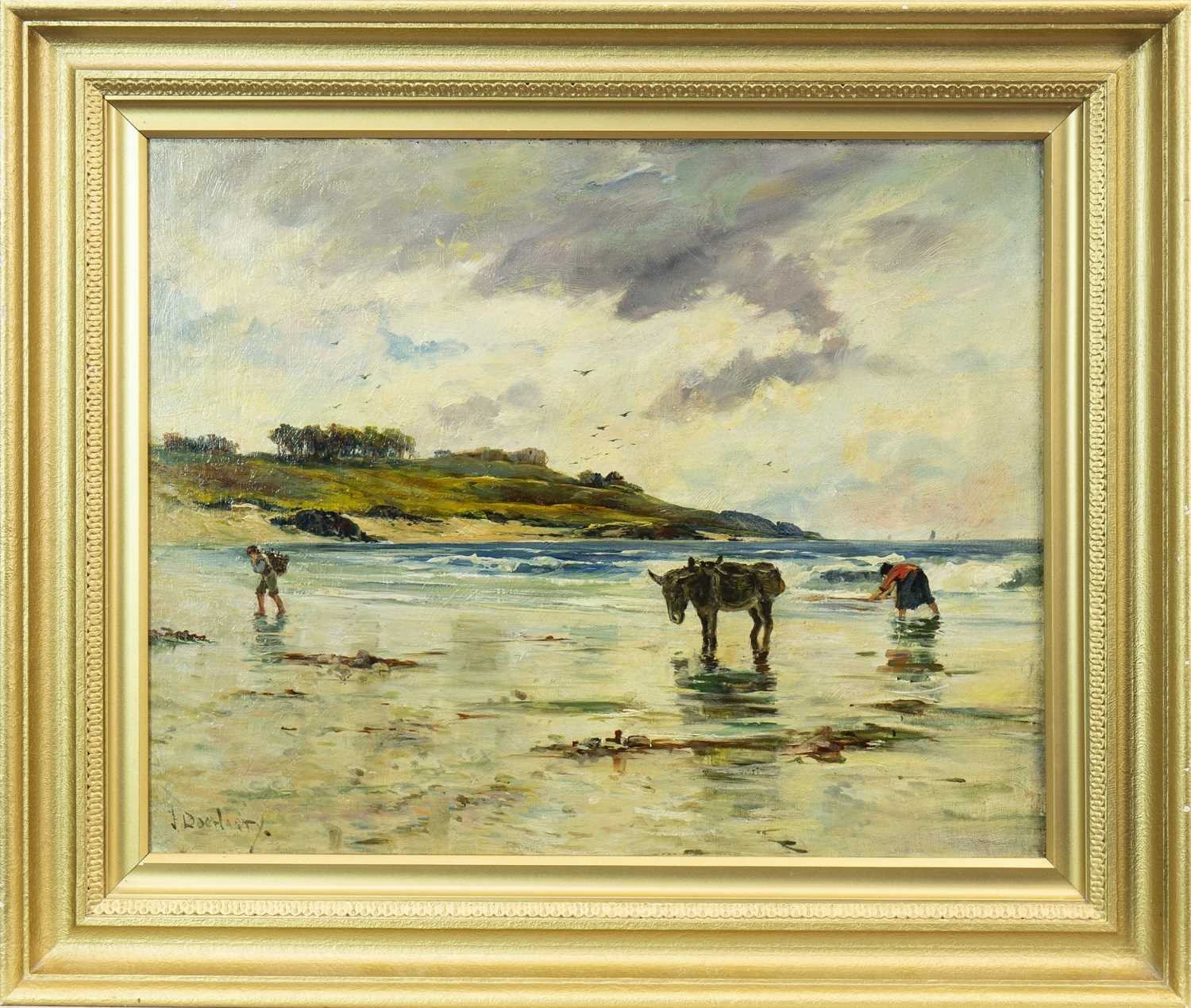 Lot 430-BEACH SCENE WITH FIGURES AND A DONKEY, AN OIL BY JAMES DOCHARTY