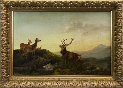 Lot 437-A STAG AND HINDS ON A RIDGE, AN OIL BY ROBERT CLEMINSON