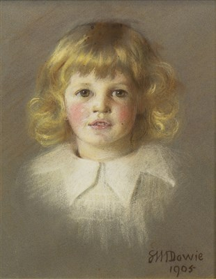 Lot 438-A YOUNG GIRL, A PASTEL BY SYBIL M DOWIE