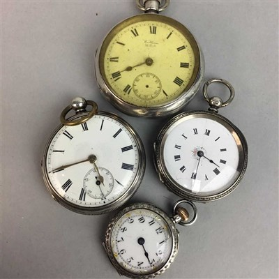 Lot 24-A SILVER CASED KEYWIND POCKET WATCH and THREE OTHERS