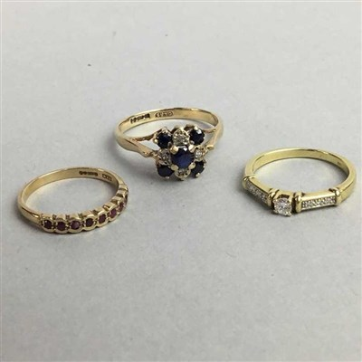 Lot 15-A 15 CARAT GOLD ENGAGEMENT RING and TWO OTHER GOLD RINGS